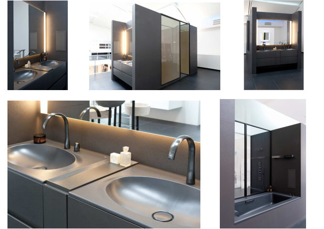 la salle de bain armani roca est install e au show room david b dkomag. Black Bedroom Furniture Sets. Home Design Ideas