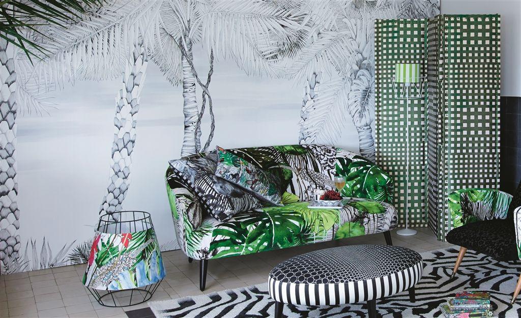 effet graphique papiers peints jungle en noir blanc. Black Bedroom Furniture Sets. Home Design Ideas