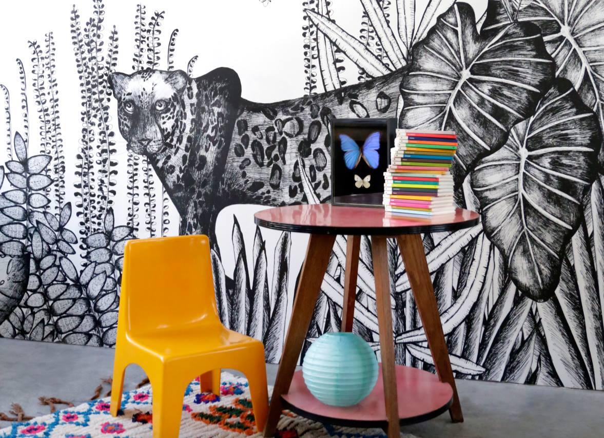 Effet graphique > Papiers peints Jungle en Noir & Blanc