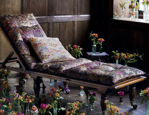 Liberty Art Fabrics Interiors, Faria Flowers in Woodpecker, vintage velvet £120 per metre Cushion in Floral Clay, Wood Fairy, scoured linen £85 per metre.