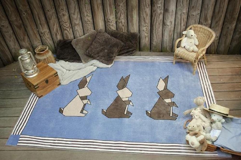 POM TAPIS lapins lavande