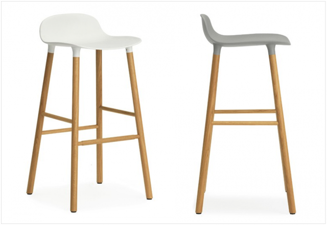 tabouret de bar bois et blanc gris design scandinave dkomag. Black Bedroom Furniture Sets. Home Design Ideas