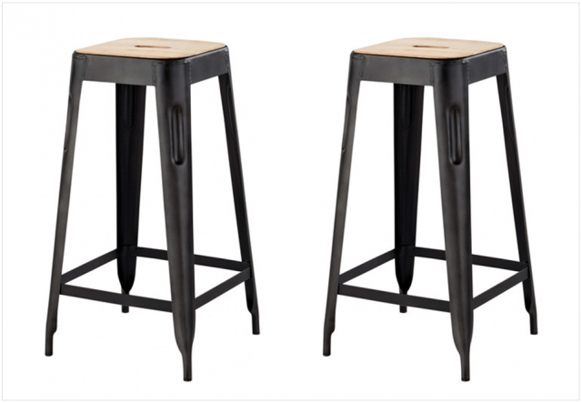 tabouret de bar metal noir et assise bois style industriel. Black Bedroom Furniture Sets. Home Design Ideas